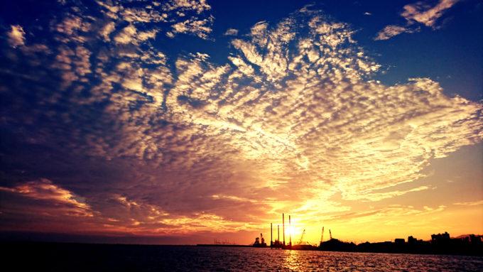 西宮湾奥の夕焼け