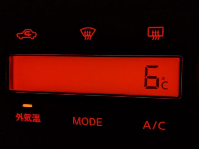6℃ 車の外気温計