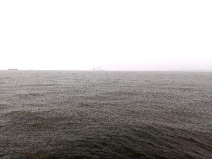 土砂降りの西宮湾奥
